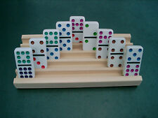 ONE DOMINOES TILES HOLDER WITH 5 SLANTED ROWS EACH 'MEXICAN TRAIN' 'DOMINOES'