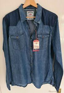 BNWT Men's Thread & Cloth Blue Denim Shirt Size Medium