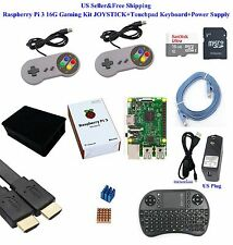 US Raspberry Pi 3 16G Gaming Kit JOYSTICK+Touchpad Keyboard+Power Supply