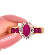 Ring in 14k Yellow Gold 1.00ct Ruby and Diamond Right-Hand