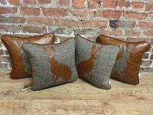 """Harris Tweed & Tan Leather Hare Cushion 17"""" X 17"""""""