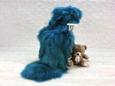 Real icelandic sheepskin rug double sheepskin long shiny fur teal colour #182