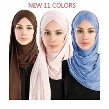 Women Plain Bubble Cotton Jersey Scarf Head Hijab Wrap Solid Instant Shawls 2019