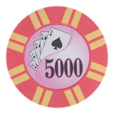 "25 count Pink $5000 Five Thousand Dollars 5k Poker Chips 8g ""2 Stripe Twist"""