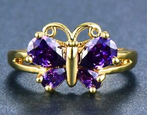 14K GOLD EP 2.5CT AMETHYST BUTTERFLY RING size 6-10 u choose