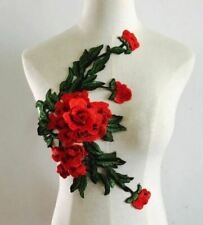 Large Red Green Embroidered 3D Applique Flower Patch Sew On DIY Rose Leaf Vine