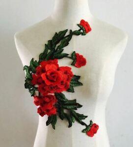 Large Red Green Embroidered 3D Applique Flower Patch Sew On DIY Rose Leaf Vine