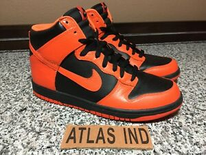NIKE DUNK HIGH Black Safety Orange 2012 SB 317982 042 Size 9.5