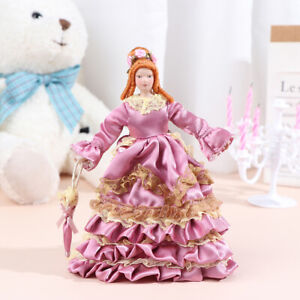 1:12 Dollhouse Miniature Porcelain Doll Model Victorian Miss Lady Doll ToyB.bu