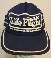 Vintage 1980s Life Flight Helicopter Snapback Trucker Hat Cap 3 SIDE STRIPES USA