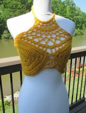 Mustard/Yellow Top/Crochet//Summer/handmade/Lace/Sleeveless/Crop/Halter/Boho