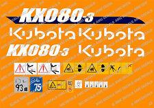 Kubota KX080-3 Mini Aufkleber Bagger Komplettset mit sicherheit-warnzeichen