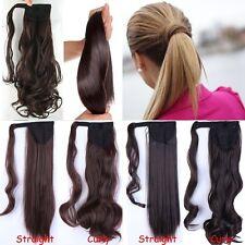 uk Clip In Hair Extensions Ponytail Wrap Around Pony Tail Brown Blonde black ltd