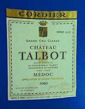 Wine Label 1961 Chateau Talbot Grand Cru Classe Saint-Julien RARE #4