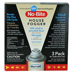 C-1131 Durvet No Bite Igr House Fogger Kill Flea Eggs Spray Pack Of 3