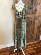 Alberto Makali  Floral Dress Maxi Gown Size Small Crocheted Hippie Green