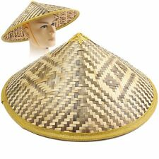 Deluxe Asian Japanese Bamboo Coolie Straw Sun Hat Rice Farmer Adult