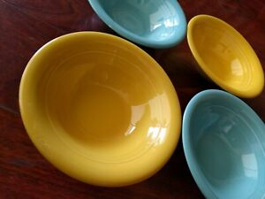 4 HOMER LAUGHLIN CHINA HARLEQUIN TURQUOISE YELLOW CEREAL BOWL BLUE BOWL ART DECO