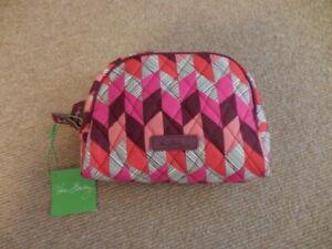 Vera Bradley Medium Zip Cosmetic Makeup Travel Bag Bohemian Chevron Retired NWT