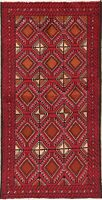 Balouch Oriental Area Rug RED Wool Hand-Knotted Geometric All-Over Carpet 3 x 6