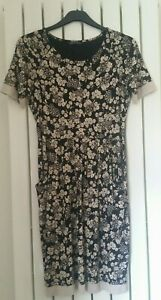 Womens Marks and Spencer Dress Size 12 Black Cream Floral