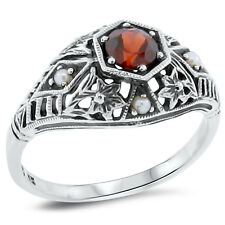 ANTIQUE STYLE GENUINE GARNET AND PEARL .925 SILVER FILIGREE RING SIZE 8,   #126