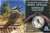 2020 $1 MELBOURNE ANDA 1OZ SILVER KOOKABURRA COLOURED COMMON HEATH Floral PRIVY
