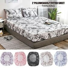 Marble Design Printed Microfiber Duvet Cover Set with Pillow Cases Bedding Set