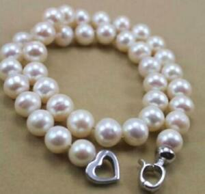 """AAA++ 9-10MM NATURAL WHITE SOUTH SEA PEARL NECKLACE 18"""""""