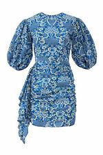 RHODE Women's Dress Blue Size Small S Sheath Draped Ruffle Floral $425- #208