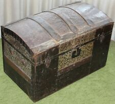 """Antique Camelback Humpback Storage Chest Steamer Luggage Trunk 28"""" LOCAL PICK UP"""
