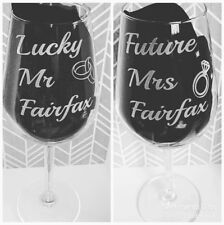 Pair Of Engraved Wine Glasses, Lucky Mr, Future Mrs, Personalised