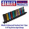 "Sealey AK2872D Multi-Coloured Socket Set 13pc 1/4""Sq Drive 6pt Deep WallDrive MM"