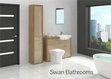 OAK / CAPPUCCINO GLOSS BATHROOM FITTED FURNITURE WITH TALL UNIT 1600MM