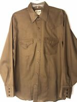 Vintage Ely Cattleman Western Cowboy Shirt Large Button Down Brown Long Sleeve