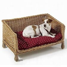Dog Cat Bed Sofa Wicker Cushion Red European Willow Hand Woven White Polka Dots