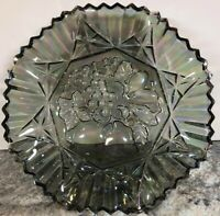 "Smoke Gray Iridescent Carnival Glass Star Fruit Bowl Sawtooth 11"" Vintage"