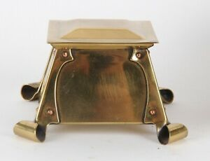 Arts and Crafts Brass Inkwell Copper Rivets Nouveau Birmingham School A E Jones