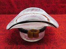 BEAUTIFUL VINTAGE MURANO (?) MILLEFIORI HAND BLOWN PINK GLASS HAT-- BOWL / VASE