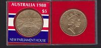 1988 $5 Parliament House Australia Coin opened Queen Elizabeth Royal cased