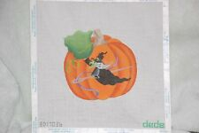 Needlepoint Canvas  Pumpkin with witch  Dede