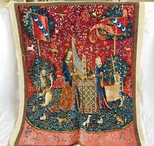 French Handmade Tapestry Lady with The Harp Unicorn Tapestries, New Old Stock