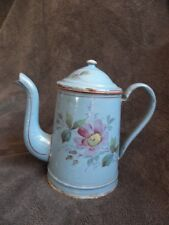 antique French Sky Blue flower Enamel Coffee Pot old  caffè кофе percolator old