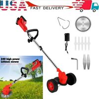 Cordless String Grass Trimmer Weed Eater With 24V Lithium-ion Batteries+Wheel