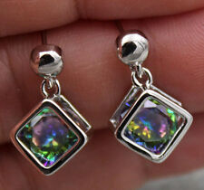 18K White Gold Filled - 8MM MYSTIC Topaz Amethyst Ruby 3D Cube Earrings13 Color