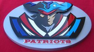 PATRIOTS 3D SIGN art  man cave NFL NEW ENGLAND Brady football NEW Boston 12