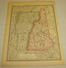 1881 Rand McNally COLOR MAP of VERMONT & NEW HAMPSHIRE