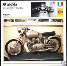 1950 MV Agusta 500cc Four-Cylinder Road-Bike Motorcycle Photo Spec Info Card