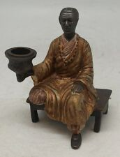 Bronze Blackamoor Seated Holding Candlestick - Vienna Style - Cold Painted