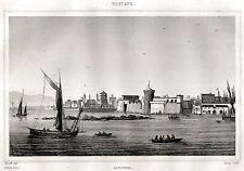 LIVORNO DAL MARE. Granducato di Toscana. ACCIAIO. Stampa Antica.Certificato.1838